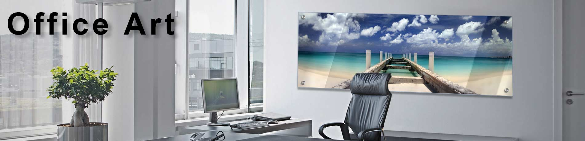 sleek, modern office art on acrylic