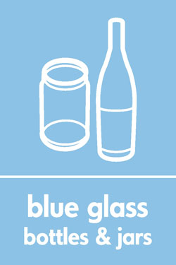 Blue glass bottles and jars