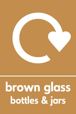Brown glass bottles and jars recycle