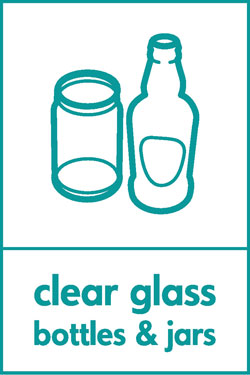 Clear glass bottles and jars