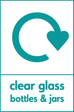 Clear glass bottles and jars recycle