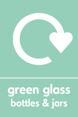 Green glass bottles and jars recycle