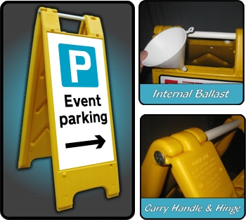 Large A-Board Event Parking Right