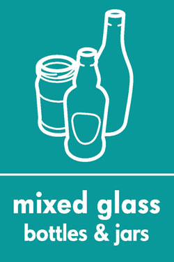 Mixed glass bottles and jars
