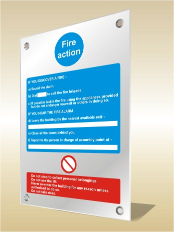 prestige fire action safety sign
